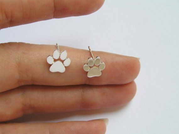 Paw Print Earrings - Silver Stud Earrings - Cats and Dogs Paws - Pet Jewelry - Animal Lover Gift