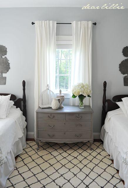 My Parent's Guest Bedroom by Dear Lillie  BM Pebble Beach paint color