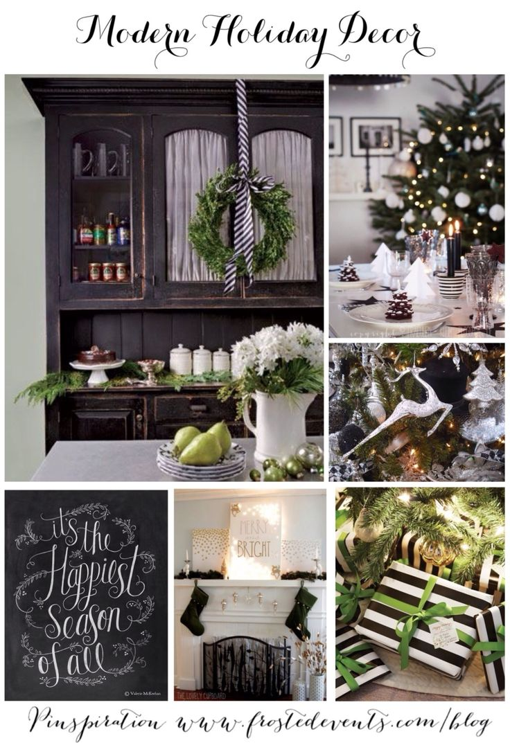 Modern Holiday Decor Ideas and Inspiration-  Best of Pinterest Pinboard via Frosted Events www.frostedevents.com  Christmas ideas and inspiration for modern decor, wreaths, gift wrapping, christmas tree, holiday party entertaining, ornaments, stockings, mantel #hoiday #christmas  @frostedevents:
