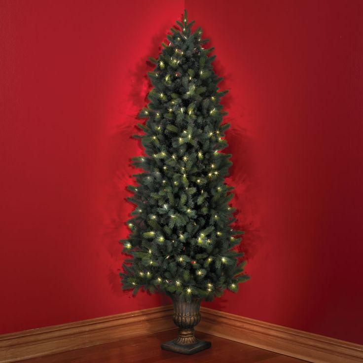 The Cordless Prelit Douglas Fir Corner Tree - Hammacher Schlemmer