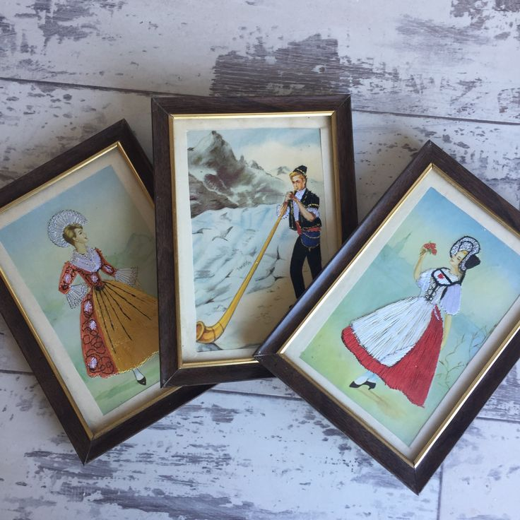 Vintage Postcards- Framed Embroidered European Costumes - Swiss Alpine Dress - Set of 3 by TheClassicButterfly on Etsy