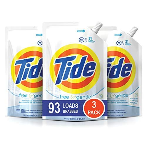 Amazon Subscribe And Save Deal Tide Free And Gentle He Laundry Detergent 3 Pack Of 48 Oz Pouches Unscented And Hypoallergenic For Laundry Detergent Liquid Laundry Detergent Best Laundry Detergent