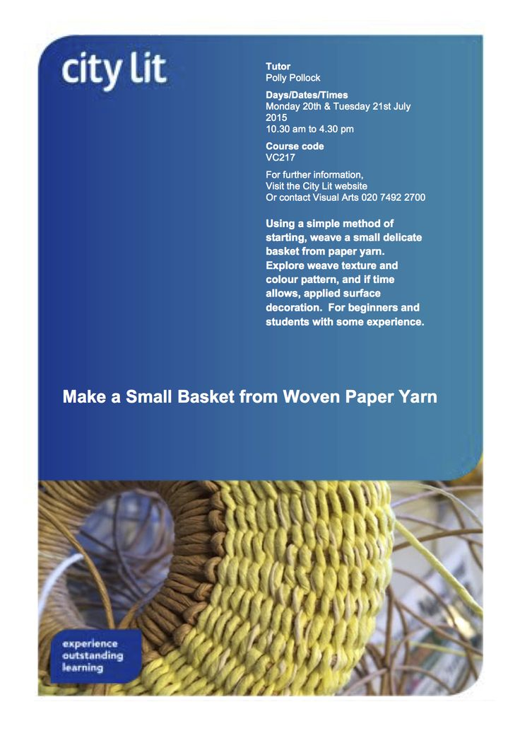 Still places available .... 2 day course Mon/Tues 20th/21st July.  Make a small basket from paper yarn.