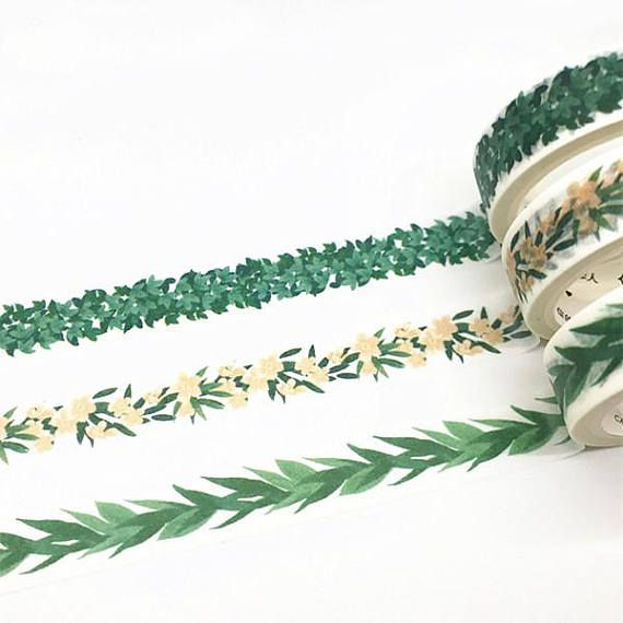 Leaves washi tape Leaf washi tape Green washi tape