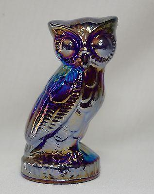 Mosser Cobalt Blue Carnival Glass Owl Paperweight