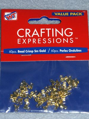 Small Crimp Beads - Gold - Pkg/60 - Crimp beads make a secure & professional start & finish for beaded designs. They protect & secure the beading material & create nicely finished ends.