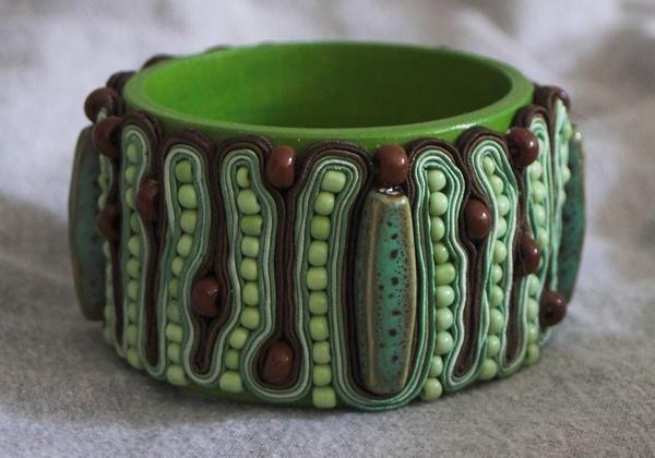 The green and brown soutache bangle