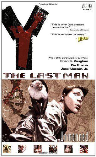 Y: The Last Man, Vol. 1: Unmanned by Brian K. Vaughan, http://www.amazon.com/dp/1563899809/ref=cm_sw_r_pi_dp_3oTrqb1KAPWGG