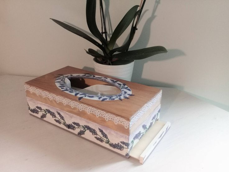 Rustic tissue box cover, tissue box holder, lavender tissue box, wooden storage box, decoupage, handmade by CraftHomeLondon on Etsy