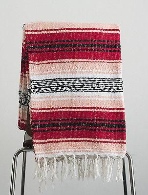 """Mexican Falsa Blanket / Yoga Blanket - Blanket is fairly large measuring 73"""" X 52"""" without counting the fringes. - Hand woven by hardworking artisans in Tlaxcala, these blankets are of the finest qual"""