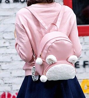 Cute Bunny Ears Backpack Rabbit Fur Double Shoulder Bag Mochila Masculina School Bags For Teenager Girls Children Backpacks