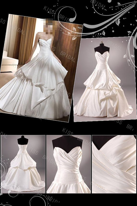 Attractive A-LINE sweetheart taffeta Floor-Length Chapel pleated  Wedding Dresses