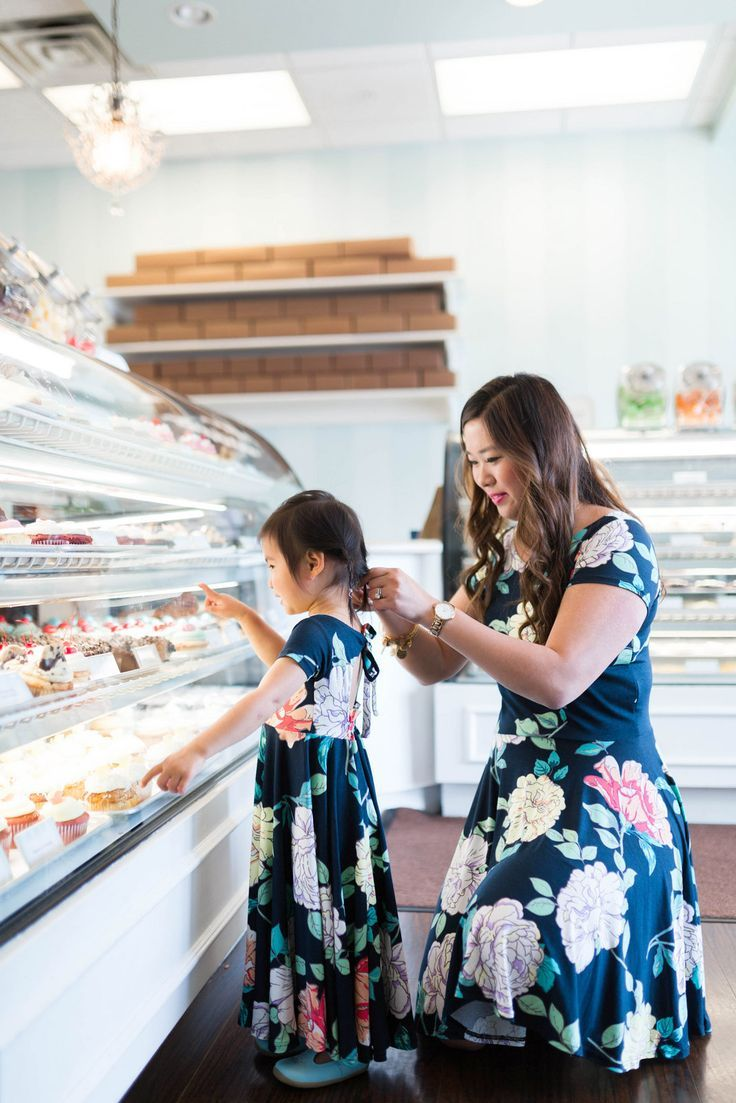 Mommy and Me Outfits: Floral Dresses + Heart Necklaces | mommy and me fashion | mommy and me style ideas | mommy and me outfit ideas | mom and daughter fashion | mommy and me spring fashion | fashion for mom and daughter || Sandy A La Mode