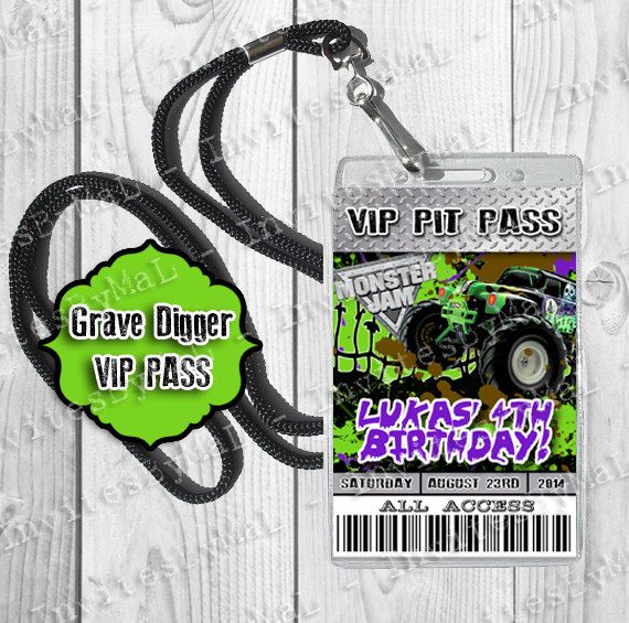 Grave Digger Monster Truck Birthday VIP Pit Pass by InvitesByMaL