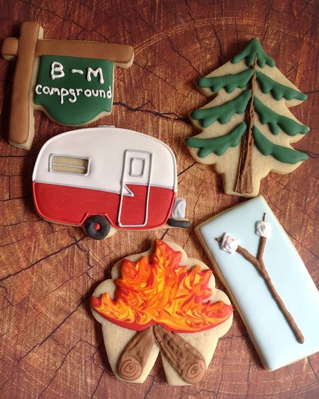 Let the summer fun begin! #camping #sugarcookies #decoratedcookies #campfire…
