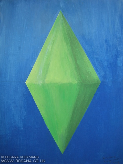 Sims (plumbob) painting, acrylic. #sims #snw #plumbob #plumbbob #green #blue #acrylic #acryl #painting