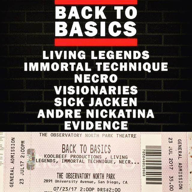 7/23/17 🔥🔥DM FOR TICKETS!  Gonna be a sold out show!  You heard correct. We will be at #Back2Basics along with @livinglegends @techimmortal @necrorules @thevisionaries @sickjacken @evidence @andrenickatina and more!!!! DM FOR TICKETS $35/Ticket!! #OutDaHouse #HipHop #TRC #IntergalacticOdysseys #HipHopCommunity #Rap #BoomBap #OldSchool #Freestyle #FollowMe #SanDiego #Apple #SD #MMJ #KeepingHipHopAlive #WeLoveHipHop #Emcees #Rhymes #Food #CannabisCommunity #PotHeadSociety #Instagood #Summer…