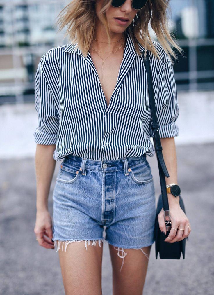 menswear striped shirt, @shopredone denim shorts | The August Diaries