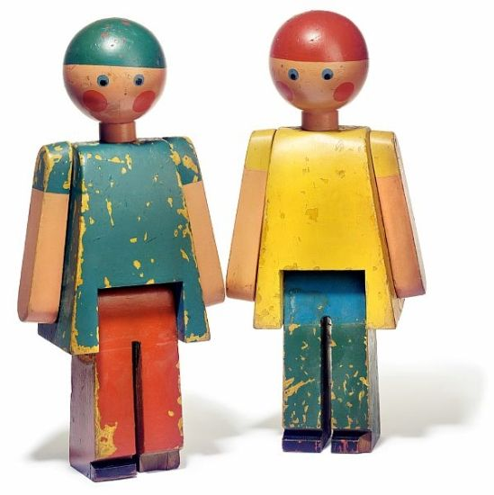 """Kay Bojesen: """"Lise and Ole"""". Two figures of painted wood. Made by Kay Bojesen. Unique. H. 53."""