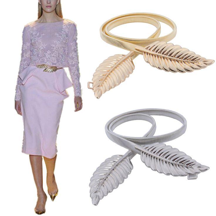 2016 Fashion Vrouwen Riemen Stijlvolle Metalen Gouden/Zilveren Bladeren Ketting Riem vrouwen Taille Elasticiteit Taille Riem