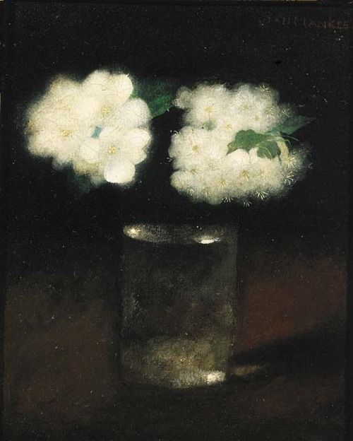 blastedheath:Jan Mankes (Dutch, 1889-1920), Glas met appelbloesem [Glass with apple blossom], 1914. Oil on canvas, 28 x 23.5cm.