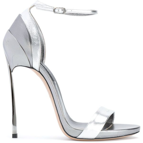 Casadei layered heel sandals ($814) ❤ liked on Polyvore featuring shoes, sandals, grey, casadei shoes, leather shoes, real leather shoes, genuine leather shoes and heeled sandals