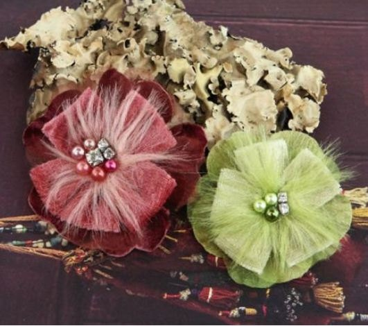 Prima Fabric Flowers - Cherise Grapevine. $4.00, via Etsy.