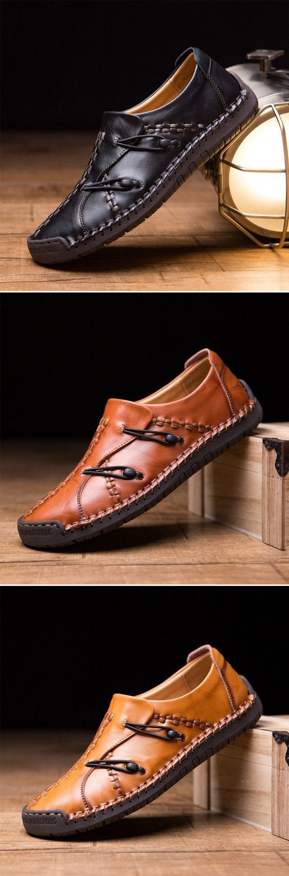 US$43.68 Men's Hand Stitching Stylish Soft Sole Slip On Loafers Casual Leather Shoes #WomenCasualShoes