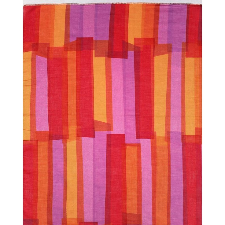 Ribbons -1957 - Overlapping vertical strips printed in violet, orange, and red. The colors are translucent so the overlapped areas appear as darker or mixed colors.