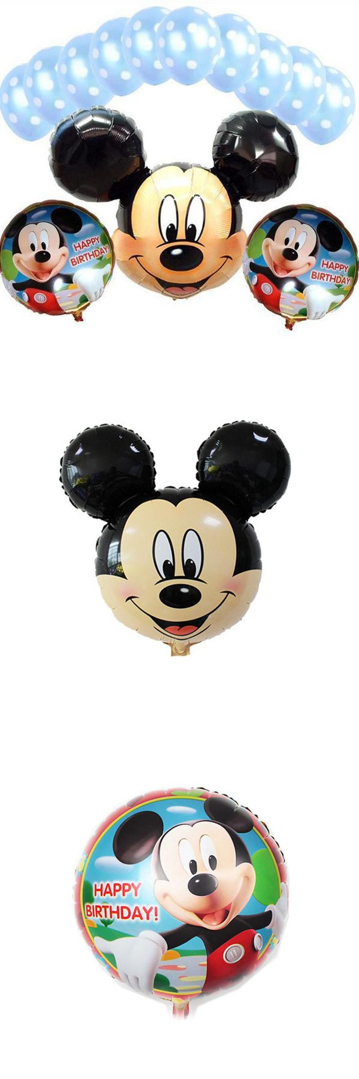 [Visit to Buy] New arrival 13 Pcs/lot Mickey mouse party supplies decoration Combination suit Foil balloons birthday party decoration Hot sale #Advertisement