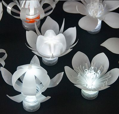 Sarah Turner - Plastic Bottle Tea Lights.     Gloucestershire Resource Centre http://www.grcltd.org/scrapstore/