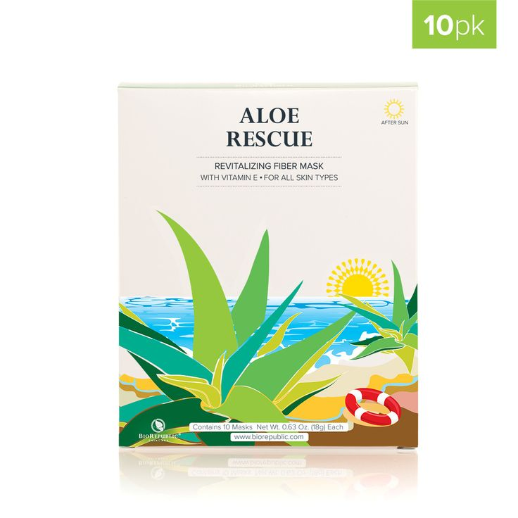 BioRepublic Aloe Rescue Revitalizing Sheet Mask Front 10 pack