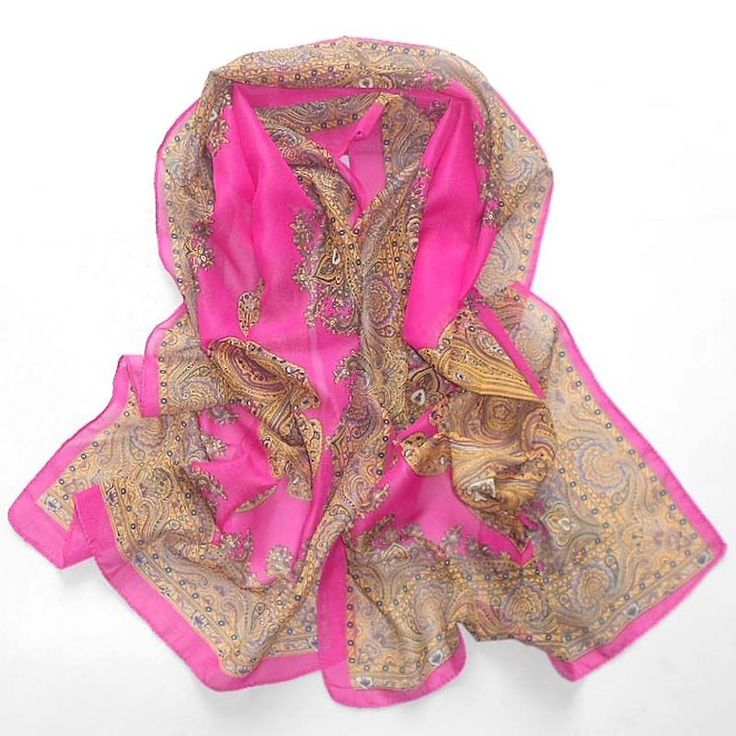 Women's Fashion Long Chiffon Wrap Shawl Beach Scarf /Hot Pink