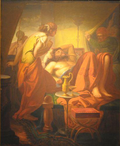 SANSÓN TRAICIONADO POR DALILA,  Oleo sobre tela 115 x 95 cm Colección Museo Nacional de Bellas Artes