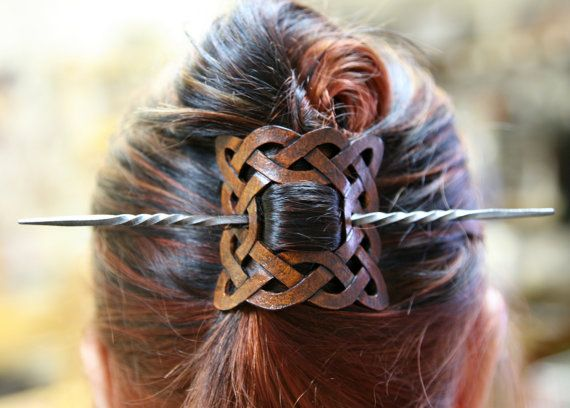 Leather Celtic Knot Hair Barrette by ArmouredWolf on Etsy