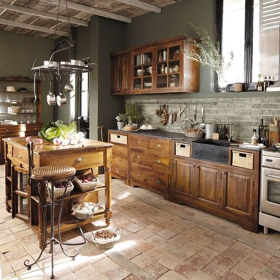 Cheap Country Kitchen Ideas  Brown Country Kitchen Ideas-- now this is a country kitchen I wouldn't mind having :)