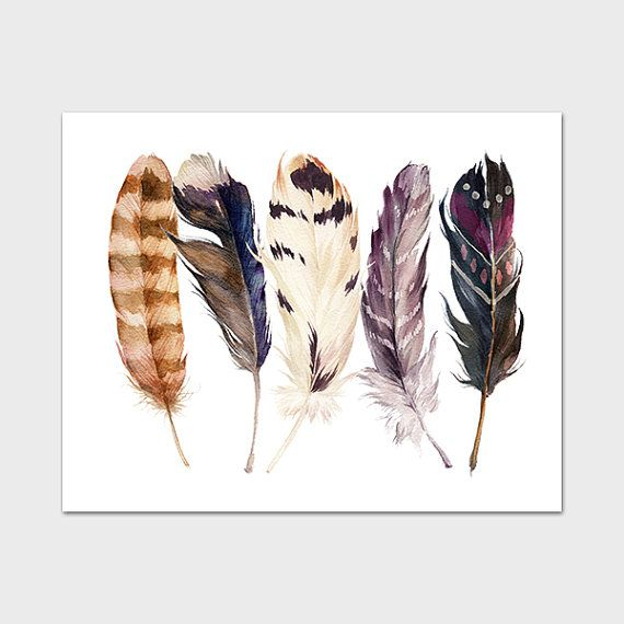 Feather Print 8x10 Instant Download Tribal от MossAndTwigPrints