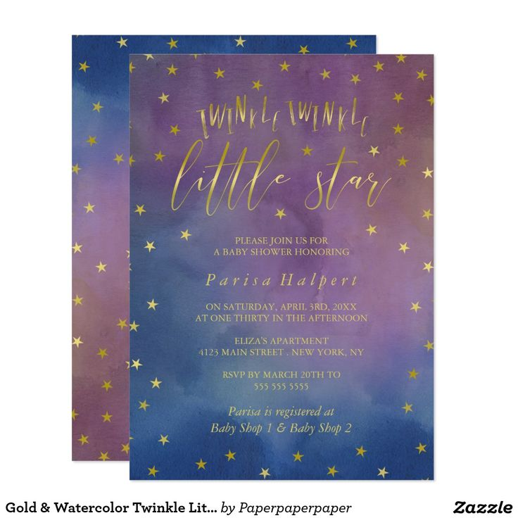 gold & watercolor twinkle little star baby shower card | baby, Baby shower invitations