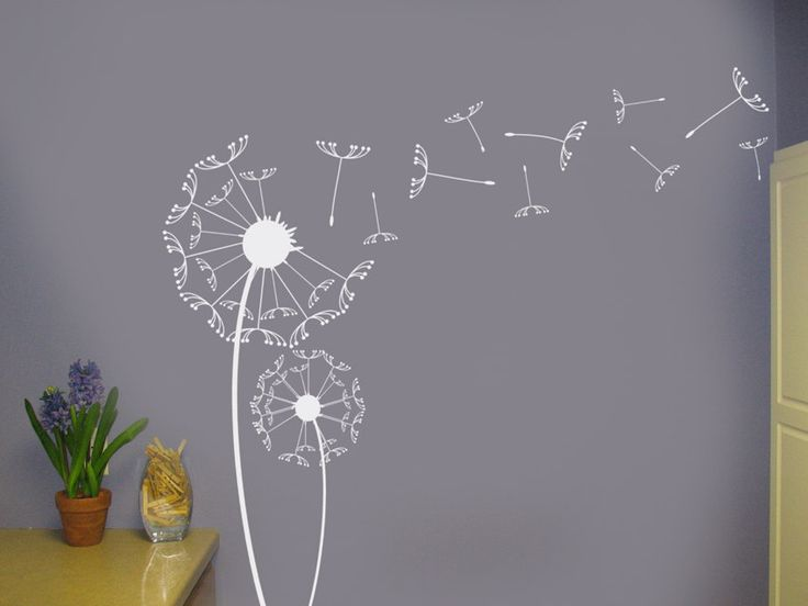 Dandelions Vinyl Wall Decal Floral Decor Art graphic Sticker set with blowing seeds for home decor or office. $32.00, via Etsy.