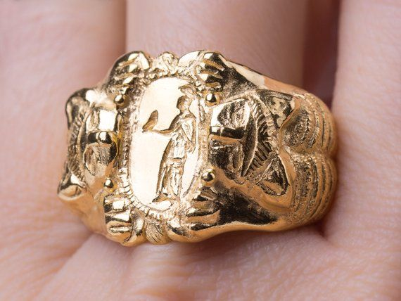 Ancient 14k Gold Ring, Etruscan Jewelry, Solid Gold Ring Men