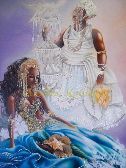 Obatala es también el dueño de todas las cabezas y las mentes. Aunque fue Olorun el que creo el universo, Obatalá fue el creador del mundo y de la humanidad. Obatalá es la fuente de todo lo que es puro, sabio, apacible, y compasivo.Yemayá es la verdaera madre de todos. Yemaya vive y reina en los mares y los lagos. Ella también domina la maternidad en nuestras vidas y es la Madre de Todos.