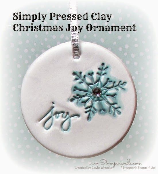 Christmas Joy ornament from Simply Pressed Clay | Stampingville #crafts #StampinUp #handmade