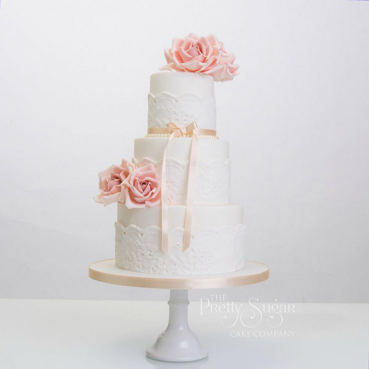 Vintage lace and antique pearls with dusty pink sugar roses