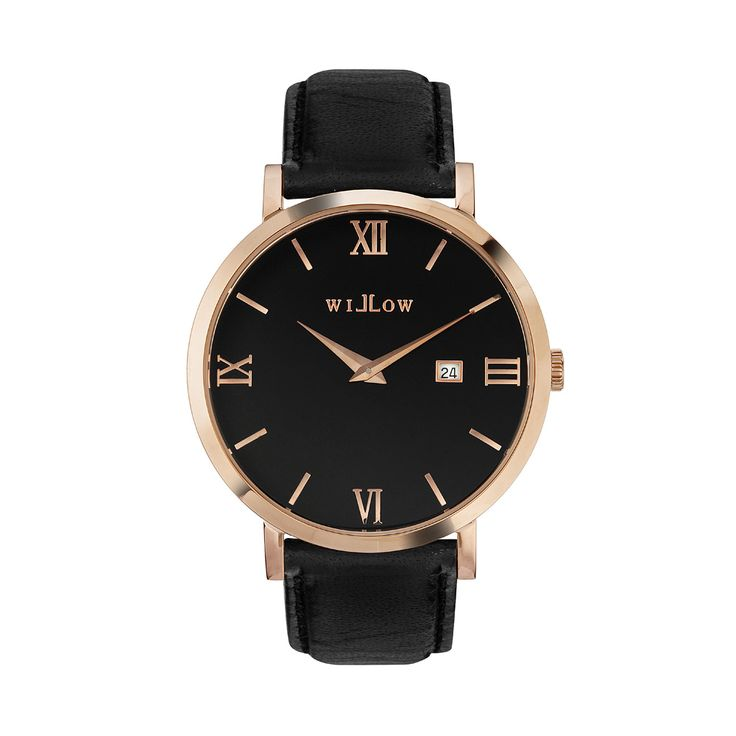 Roma Rose Gold Watch & Interchangeable Black Leather Strap.