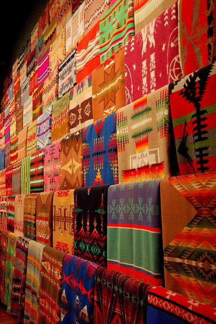 Wall of blankets at the Chihuly Muesum of Glass in Seattle, most of them Pendletons.