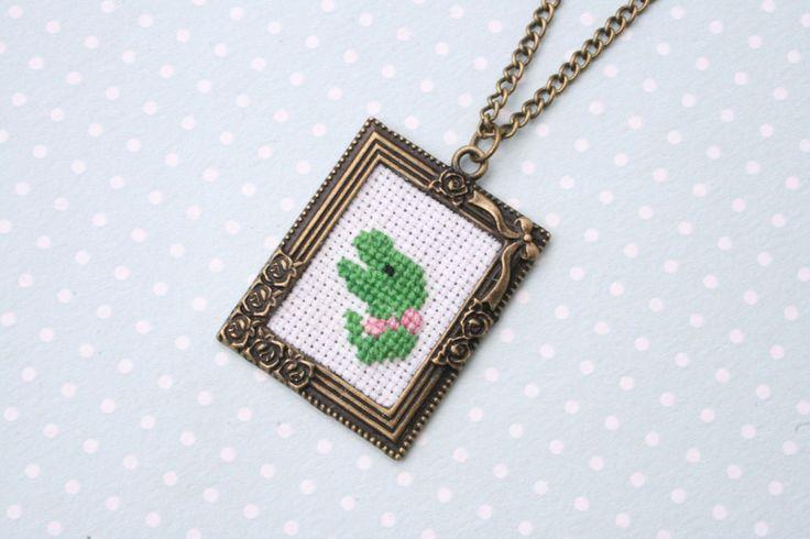 Cute dinosaur cross stitch necklace - terrific t-rex cross stitch necklace by otterlydesign on Etsy
