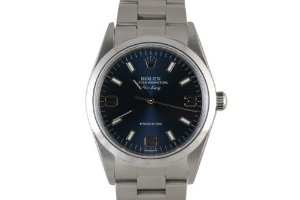 Rolex Mens Stainless Steel Airking Blue Dial