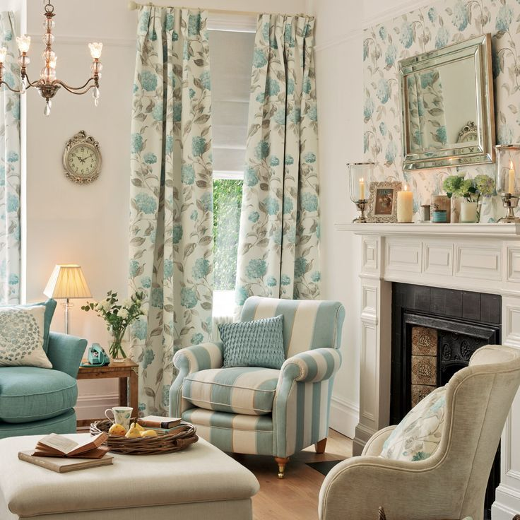 Hydrangea Floral Fabric Duck Egg by Laura Ashley | Fabric in 2019 | Pinterest | Room, Living ...