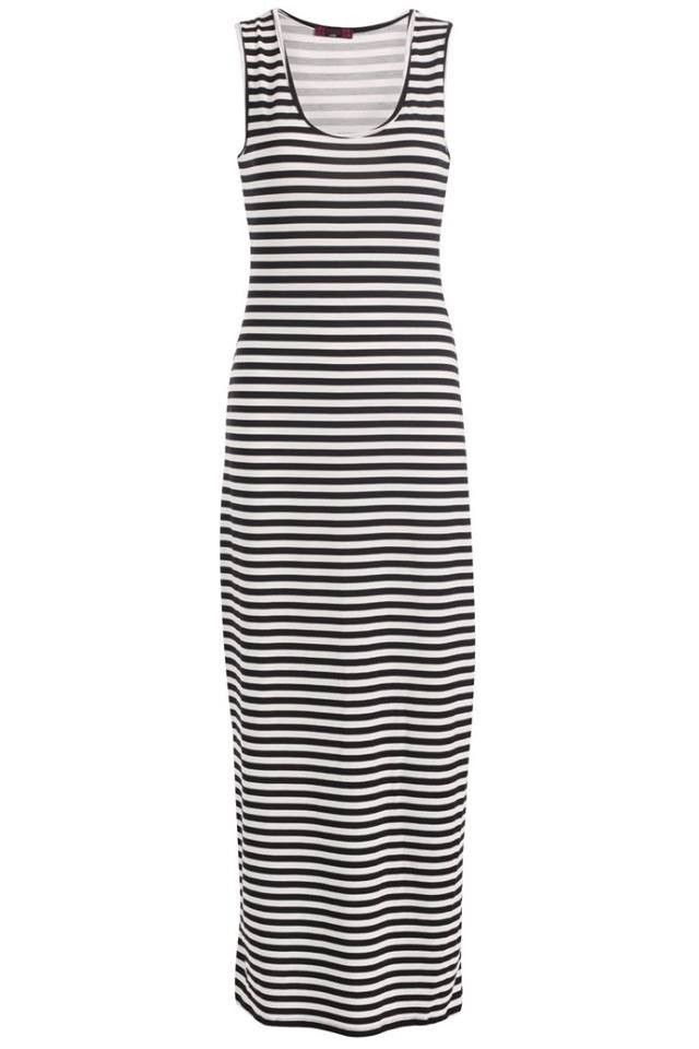 Ladies Black & White Stripe Maxi Dress
