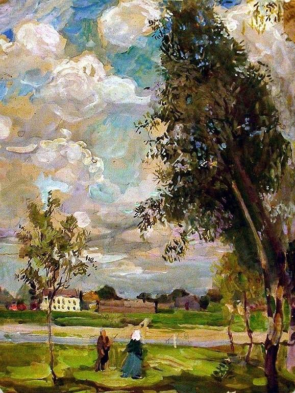 Sergei Gerasimov (1885 — 1964, Russia) Mozhaisk. 1908 watercolor on paper.  Сергей Васильевич Герасимов